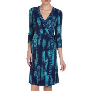 BCBGMaxazria Brushstroke Print Wrap Dress